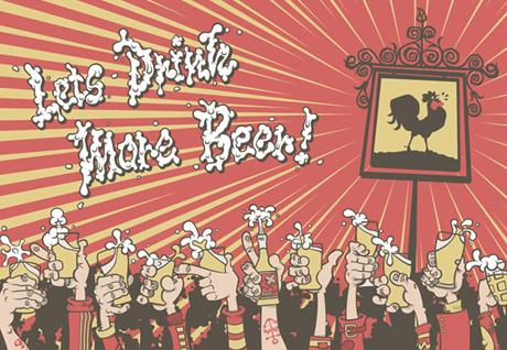 Cartoon drawing, lets drink more beer