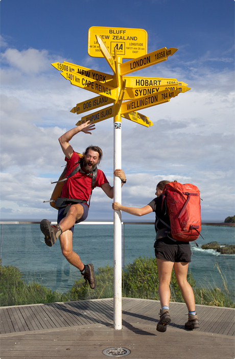 Nicky & Cookie Celebrating finishing the Te Araroa Trail 2011