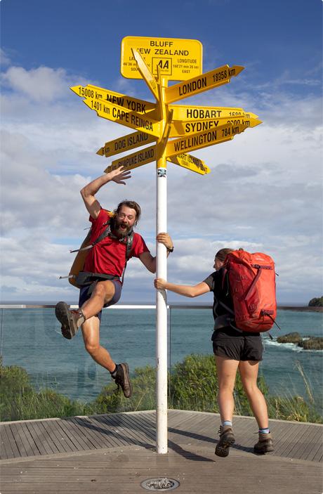 Nicky & Cookie Celebrating finishing the Te Araroa Trail 2011