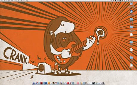 Cartoon hairy rocker, playing guitar & Cranking