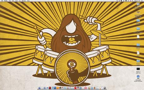 Cartoon hairy drummer