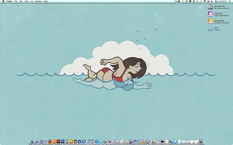 Cartoon fat woman swimming