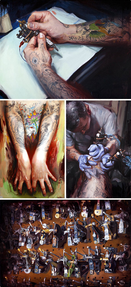 Fascinating tattoo paintings by Shawn Barber.