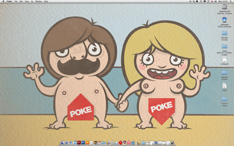 cartoon nudists on a beach, man and woman naked
