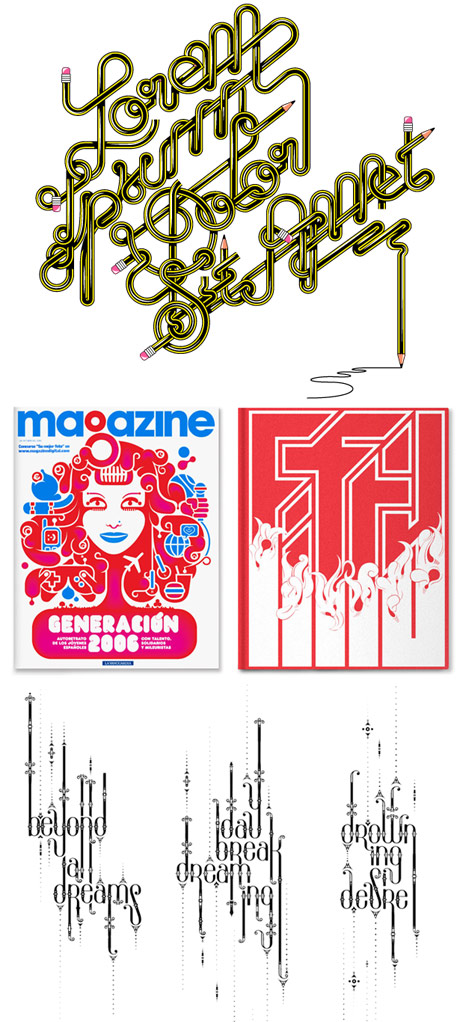 Examples of the illustration and type work of Alex Trochut