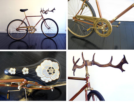 Wooden bike with handlebars made from antlers