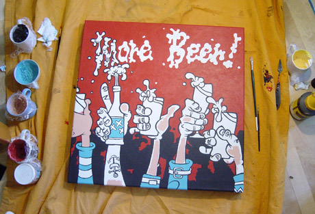 More beer painting in progress