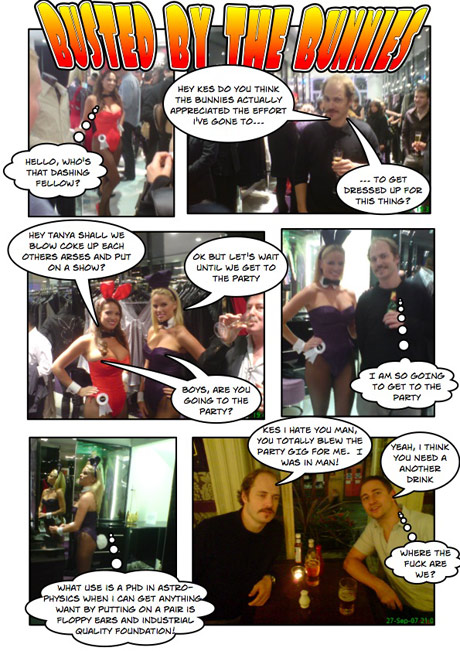 Cartoon strip of trying to get into playboy bunny party