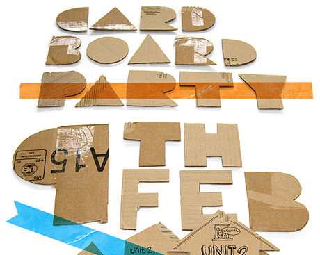 Cardboard graphics, party flyer, unit 2