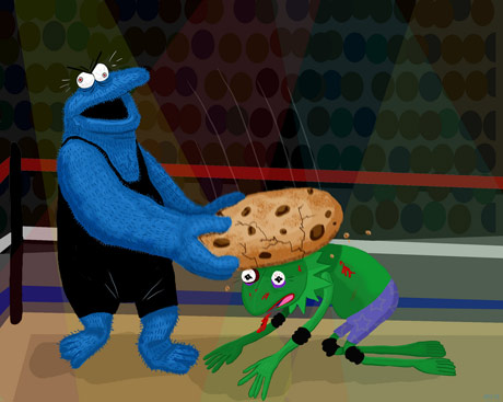 cookie monster wrestling kermit the frog