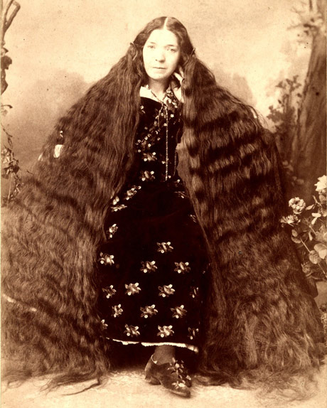 Vintage photograph of woman with really long hair