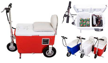 Scooter with a built in beer fridge