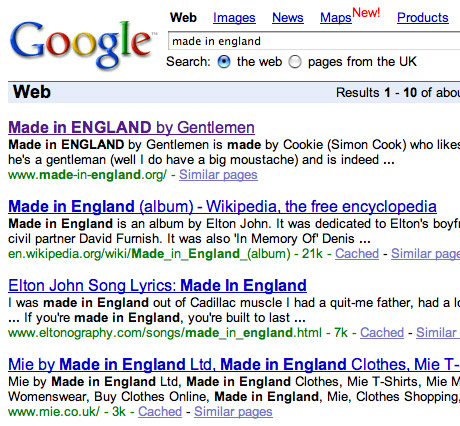 google ranking for made in england search results