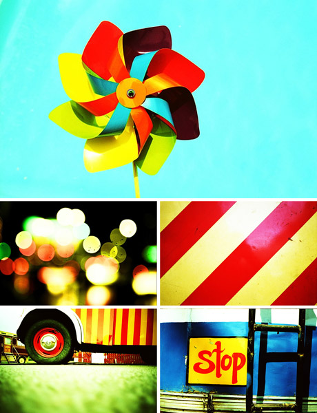 Examples of the photographic work of Greg Reed, bright colours, graphic composition, fun fairs