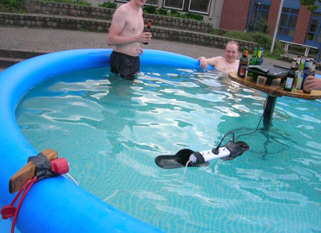 accident waiting to happen in an inflatable pool