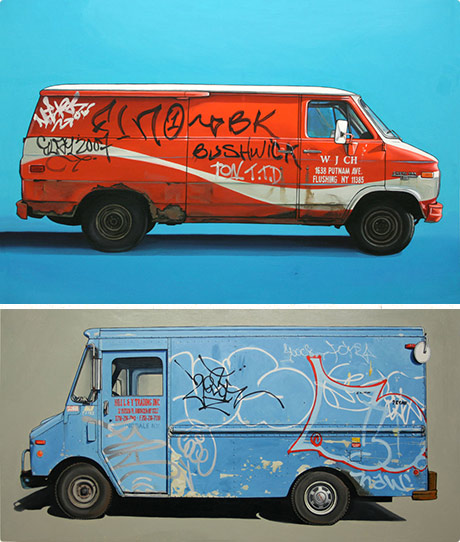 Kevin Cyr paintings of old vans