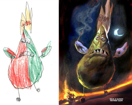 kids monsters drawings properly painted