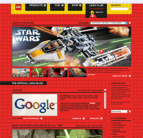 Lego.com pitch design
