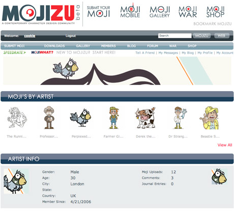 screengrab of Mojizu, a contemporary character design community website