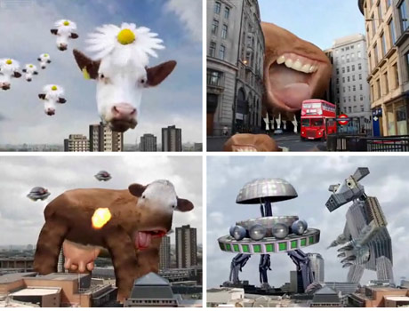 screen grabs of bizarre cow animation
