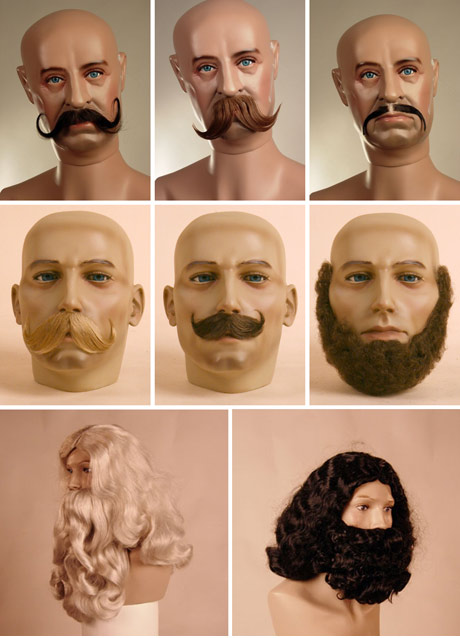 fake moustaches and beards