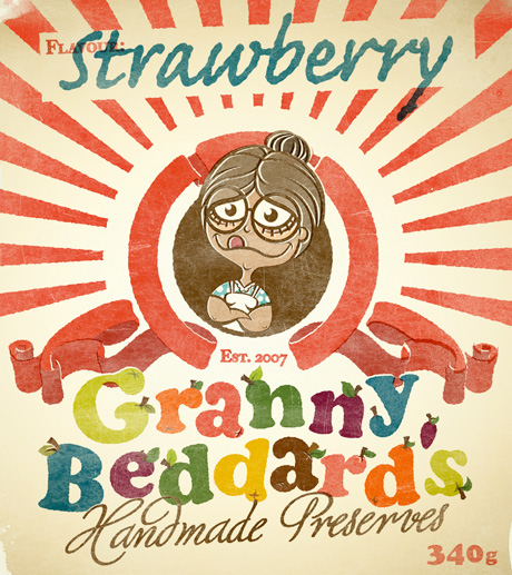 Cartoon Granny on a faded jam label