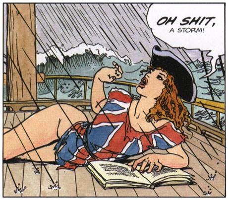 Illustration of half naked girl on a boat