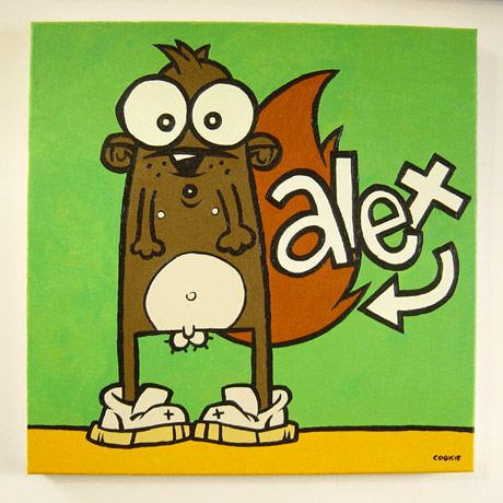 Painting of Alex as a beaver or squirrel