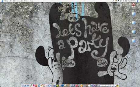 Screengrab of this weeks desktop - let's have a party against a concrete wall
