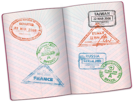 Open passport with stamps on it