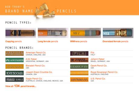 Screengrab of Brand Name Pencils website