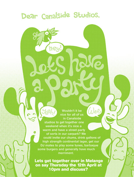 party poster, halftone