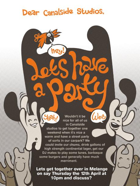 Party poster, colour halftone