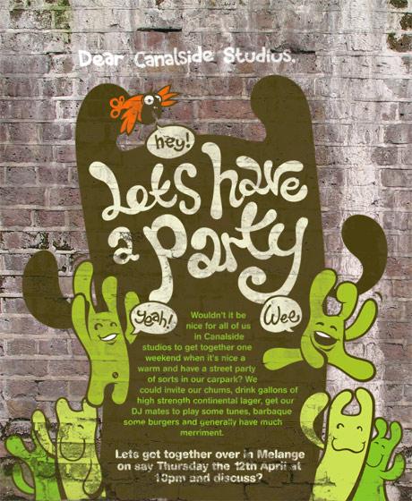 party poster, brick wall