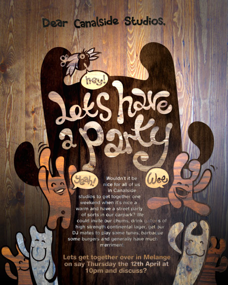 party poster, wood grain