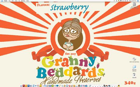 Cartoon Granny on a jam label as a desktop wallpaper