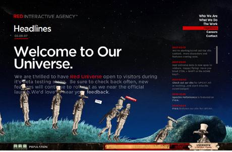 screenshot of red interactive website