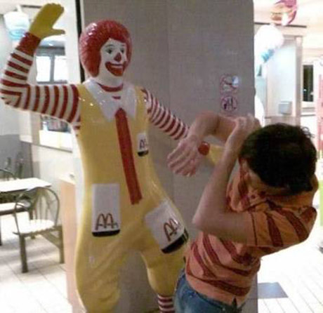 Ronald mcdonald bitch slaps customer
