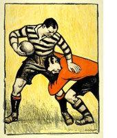 Rugby at Twickenham by tram london transport poster