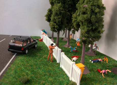 Drive by shooting made out of little plastic people
