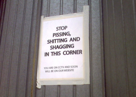 Stop pissing, shitting and shagging