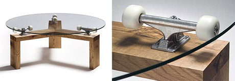 revolving table on skateboard trucks