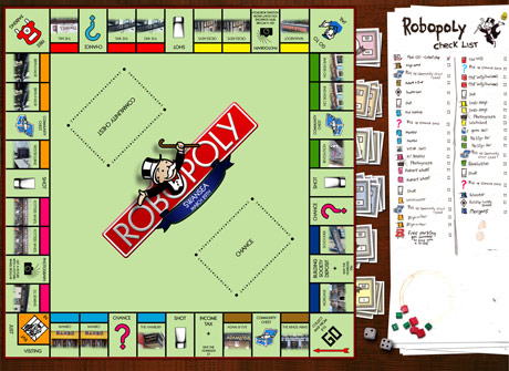 Homemade drinking monopoly board