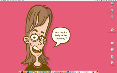 Weekly Desktop 23, Cartoon woman asking if she is a lady in the morning