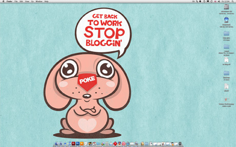 Cute cartoon bunny saying stop blogging