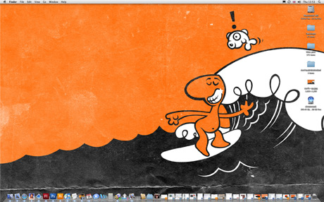 Cartoon man with big nose surfing black waves with orange sky