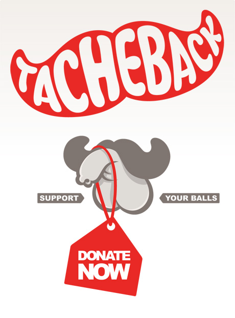 Cock and balls with a donate sign hanging from it