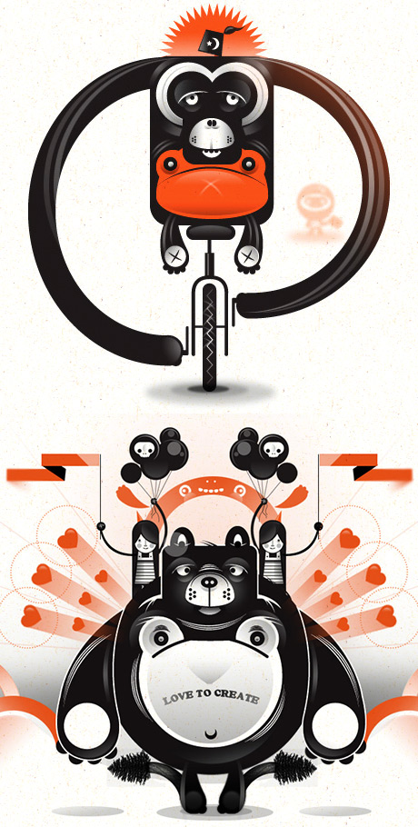 Theory One, monkey riding a bike and a fat panda