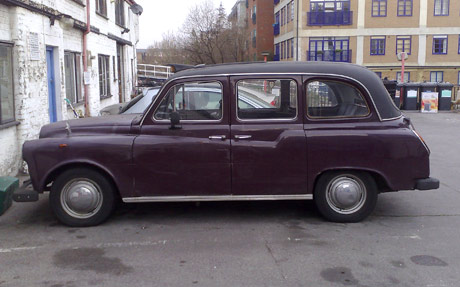 purple london taxi