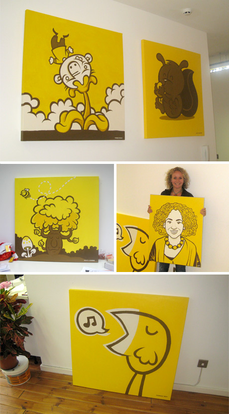 Series of yellow paintings with various woodland animals. For roome consulting